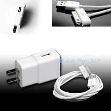 2A TRAVEL ADAPTER+3FT 30PIN USB CABLE WALL CHARGER WHITE IPHONE 4S IPAD 2 3 IPOD