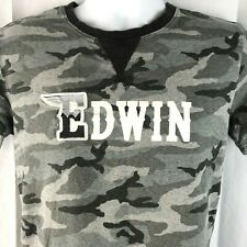 Edwin Jeans Japan Gray Camo S Ringer T-Shirt Small V Stitch Collar Embroidered