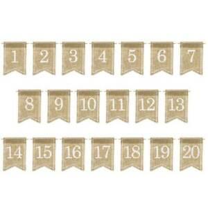 Vintage Tischnummern aus Jute Tischzahlen 1-20 für Hochzeit Geburtstag Tischdeko