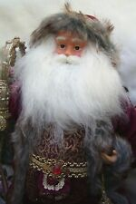 """NEW! Christmas,Collectible,Hand Made,Fur Hooded SANTA Figurine,18"""" high.Red..."""