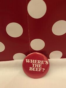 Where's the Beef Pin Button Wendy's Famous Eighties Campaign 1 3/4 in diameter