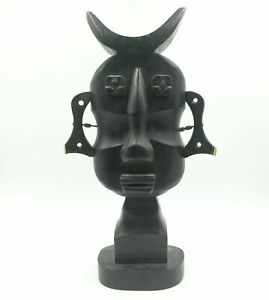 African Vintage Tribal Statue Lightweight Carved Wood Face with Stool Design