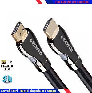 Câble HDMI HD v2.0 Haute Vitesse 4K 2160p 3D 1m/2m/3m/4m/5m/7m/10m nylon coton