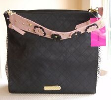NWT Betsey Johnson Flower Strap Hobo Black Bone Pink