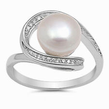 USA Seller Pearl Loop Ring Sterling Silver 925 Best Deal CZ Jewelry Size 8