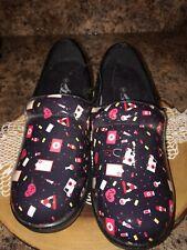 Shoe Aholic Nursing Print Nurse Comfort Clogs Shoes Size 8 M Memory Foam New