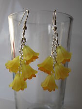 Long Drop / Dangle Earrings - Fuschia / Daffodil Cluster - Yellow / Orange