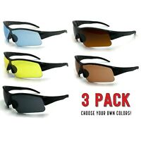 3 Pack Lot HD NIGHT Sports Day Time Blue Blocker Sunglasses Wrap Driving Glasses