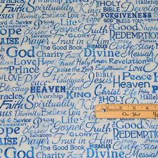 Blue Serenity Faith Love Hope Jesus Amen Religious Cotton Fabric 1/2 Yard #C4720
