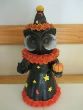 "NEW- 12"" Halloween Retro Vintage Style Wizard Black Owl w/Pumpkin-Cute!"