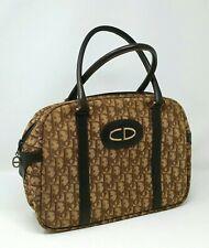 Vintage Christian Dior Oblique Trotter Brown Canvas Medium Tote Hand Bag Auth