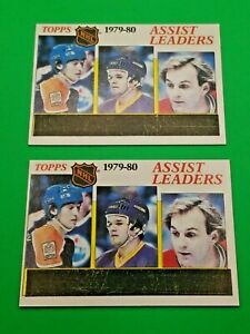 *LOT OF 2* 1980-81 TOPPS #162 WAYNE GRETZKY ASSIST LEADERS unscratched