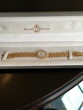 Gorgeous 18k Gold Baume Mercier Ladies Watch w/ Mother Of Pearl Face 12 Diamonds