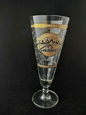 Hollywod Casino Glass Barware Souvenier Gold Trimmed Frosted Textured Stemmed