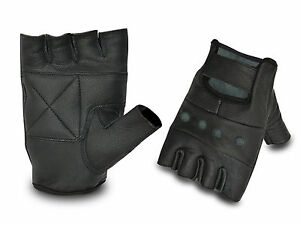 FULL LEATHER WEIGHT LIFTING PADDED GLOVES FITNESS TRAINING CYCLING GYM SPORTS
