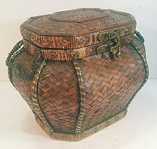 WOVEN WICKER & BAMBOO COVERED VINTAGE WOOD CHEST