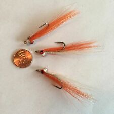 Saltwater Clouser Minnow Orange & White Fishing Fly ~ Size 2 ~ Three (3) Flies