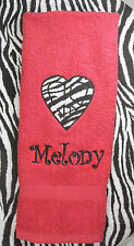 Personalized Embroidered Applique Zebra Print Peace Sign Heart Red Hand Towel
