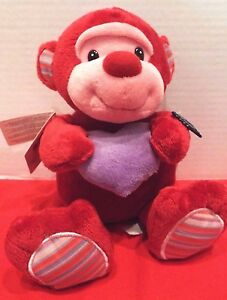 """Applause Plush MONKEY 11"""" Red Pink Valentines Day Stuffed Soft Toy Hearts NWT's"""
