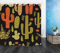 "Mexican Texas Cactus Waterproof Fabric Bath Decor Shower Curtain/&Mat/&Hook 60//72/"""