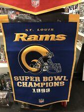 St Saint Louis Rams Dynasty Man Cave Banner Flag Pennant Super Bowl Champs 24x36