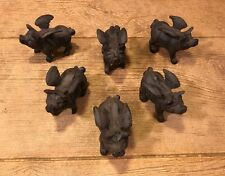 "Small Flying Pig Cast Iron 2 3/4"" (Set of Six) Office Paper Weight 0184S-10006"