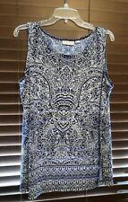 Women's Susan Graver Blue/White Pullover Top.  Size L.  PRETTY!