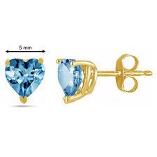 5MM Heart Shape Aquamarine Earrings in 14k Yellow Gold