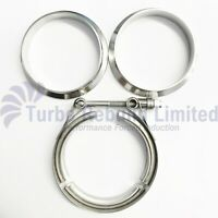 "3.5"" M8 Heavy Duty V Band Set Turbo Exhaust Downpipe Flange & Clamp Stainless"