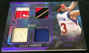 2020 In The Game Allen Iverson Team USA Logo Quad Patch Purple 12/12 76ers HOF