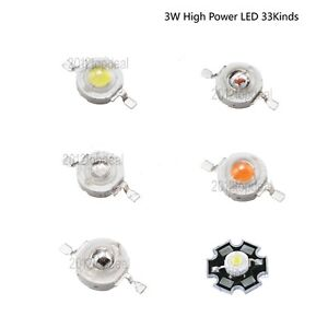 50x 3W watts High Power  LED COB Chip Light Beads White Red Blue Yellow With PCB