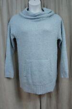 Lucky Brand Sweater Sz M Heather Grey Wool Alpaca Knit Collar Pocket Pullover