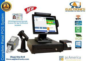 Retail PC America -Cash Register Express POS CRE w/ ID Scanner/ Label Printer
