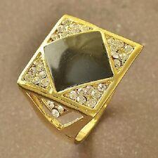 COOL 9K Real Gold Filled Black Enamel & CZ Mens Ring,size 11 F5532