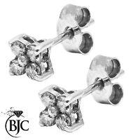 BJC 9 Ct Or blanc Marguerite SERTI CLOU DIAMANT 0.24CT Boucles d'oreilles puces