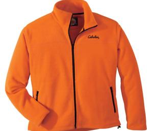 L Men's Cabela's Blaze Orange Ultra Soft Fleece Lightweight Jacket NWT Large