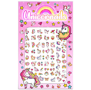 Unicorn Nail Stickers Cute Butterflies Rainbows Cupcakes Hearts Stars Girls Kids