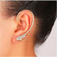 New Punk Feathered Wings Rhinestone Golden Left Ear Cuff Hook Stud Earring 1PC