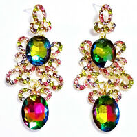 Chandelier Earrings Multi Rhinestone Crystal 2.8