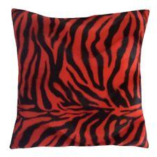 Faux Fur Red/Black Zebra Pattern 18x18 Decorative/Throw Pillowcase/Cushion Cover