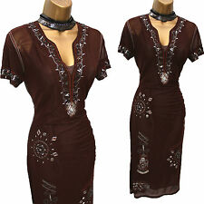 KAREN MILLEN Vintage Brown Mesh Beaded Christmas Party Wiggle Fitted Dress 12 UK