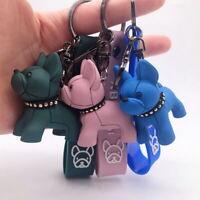 Fashion Punk French Bulldog PU Leather Bag Car Trinket Keychain Key Ring Gifts