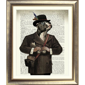 DICTIONARY WALL ART PRINT ON BOOK PAGE DOG vintage STAFFORDSHIRE BULL TERRIER