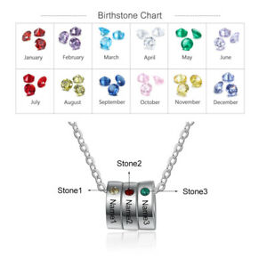 Personalise Beads Necklace 3 Name Pendant Chain Birthstone Family Christmas Gift