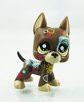 Littlest Pet Shop Brown Great Dane Dog Puppy Tattoo Green Eyes LPS Toy #1439