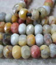 """Natural Crazy Lace Agate 8x12mm Faceted Rondelle Beads Large 2.5mm Hole 8"""""""