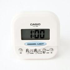 Casio PQ30B-7 White Travel Clock LED Light Compact Digital Beep Alarm New