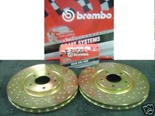 FOR SUBARU IMPREZA WRX STI 01-04 BREMBO DRILLED BRAKE DISC BREMBO PAD REAR