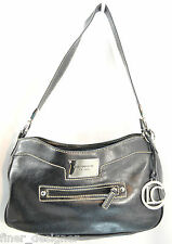 Liz Claiborne Black SHOULDER BAG handbag purse Silver metal zip top hobo MED