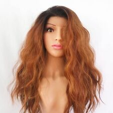 SYNTHETIC LACE FRONT WATER WAVES BROWN AUBURN COPPER OMBRE WIG 22""